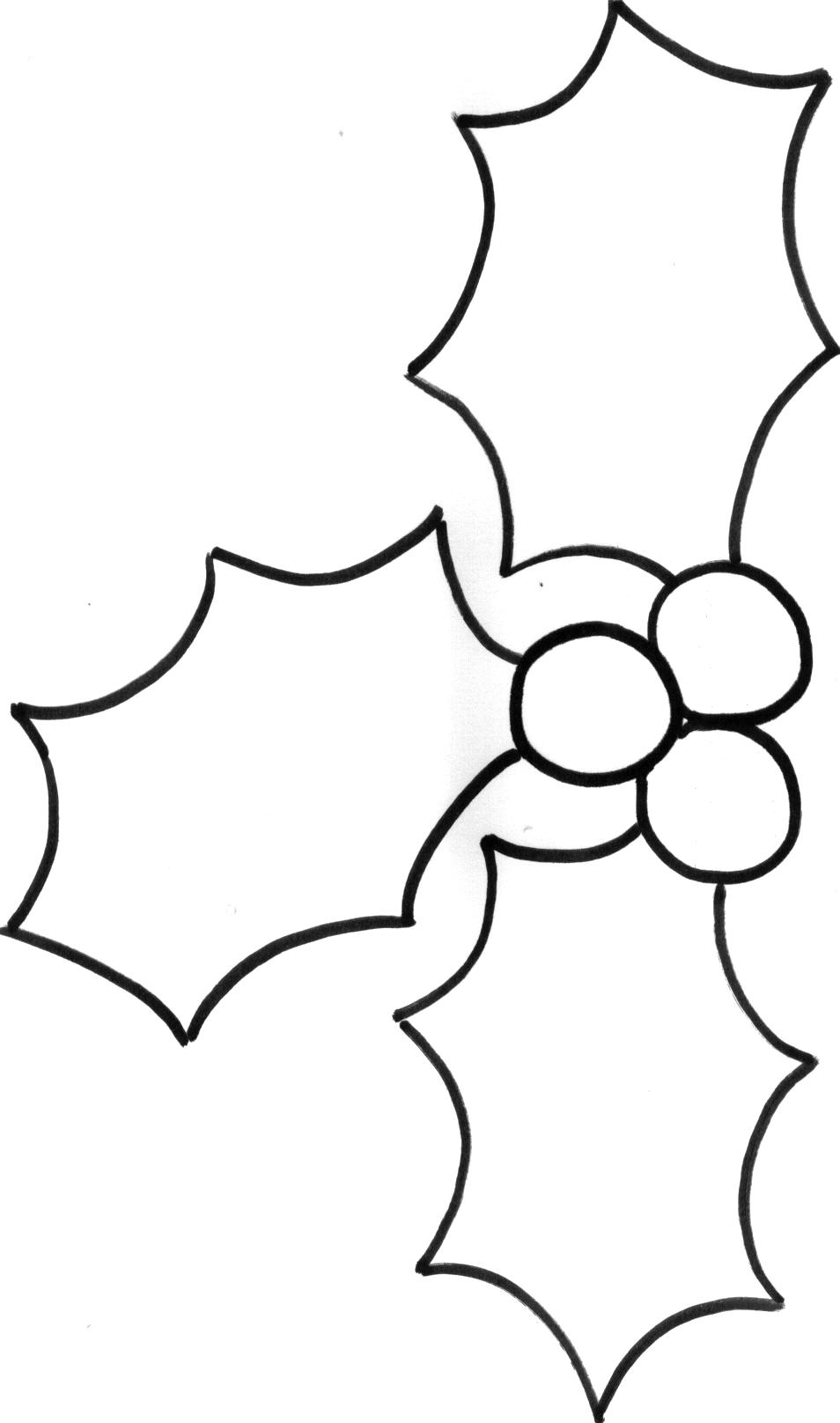 Feuilles de houx a imprimer 3 feuilles de houx - Coloriage de houx ...